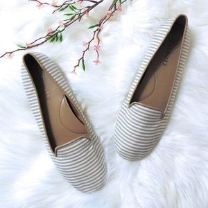 Talbots Tan and White Striped Flats